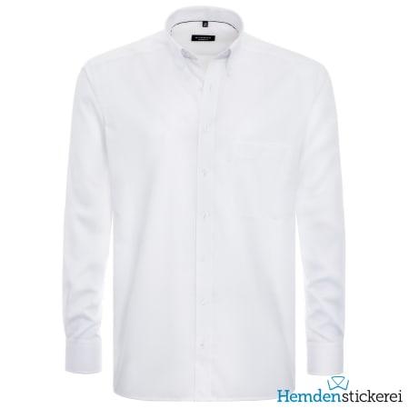 Eterna Hemd COMFORT FIT Pinpoint 1/1 Arm Button-Down-Kragen Brusttasche Weiß