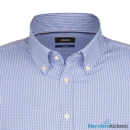 Seidensticker Hemd SHAPED 1/1 Arm Button-Down-Kragen Blau kariert