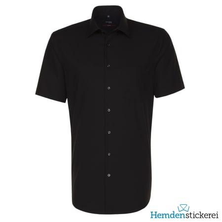 Seidensticker Hemd REGULAR 1/2 Arm Kent-Kragen Brusttasche Schwarz