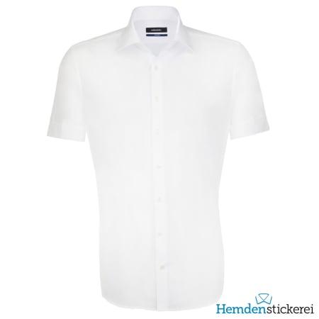 Seidensticker Hemd SHAPED 1/2 Arm Kent-Kragen Weiß