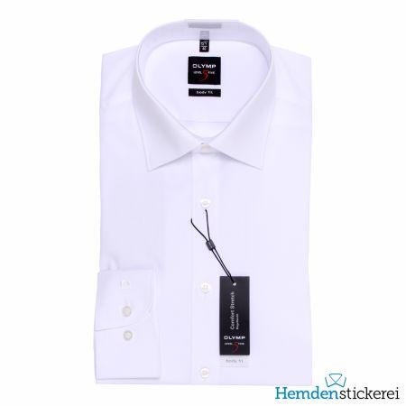 Olymp Herren Hemd Level Five BODY FIT 1/1 Arm New York Kent-Kragen Weiß