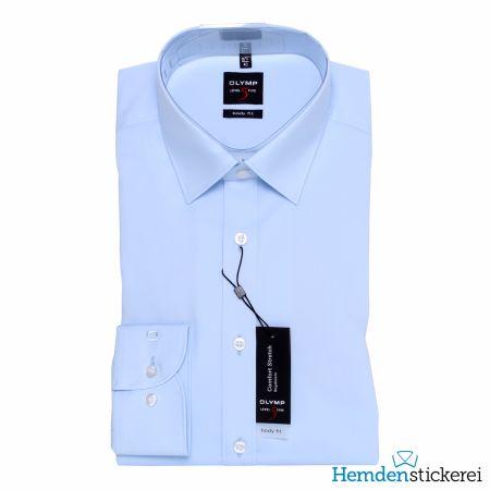 Olymp Herren Hemd Level Five BODY FIT 1/1 Arm New York Kent-Kragen Blau