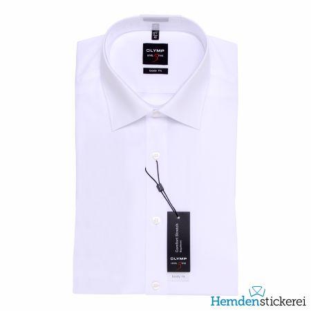 Olymp Herren Hemd Level Five BODY FIT 1/2 Arm New York Kent-Kragen Weiß