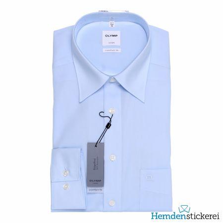 Olymp Herren Hemd Luxor COMFORT FIT 1/1 Arm Kent-Kragen mit Brusttasche Blau