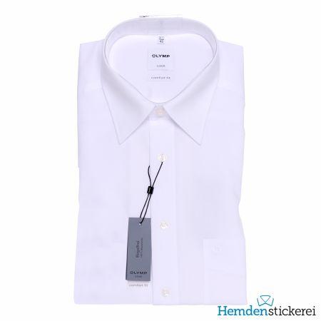 Olymp Herren Hemd Luxor COMFORT FIT 1/2 Arm Kent-Kragen mit Brusttasche Weiß