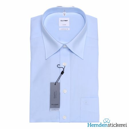 Olymp Herren Hemd Luxor COMFORT FIT 1/2 Arm Kent-Kragen mit Brusttasche Blau