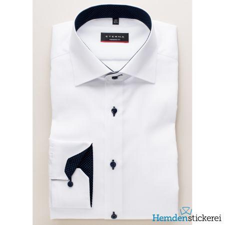 Eterna Herren Hemd MODERN FIT Pinpoint 1/1 Arm Classic Kent-Kragen mit Patchung Weiß
