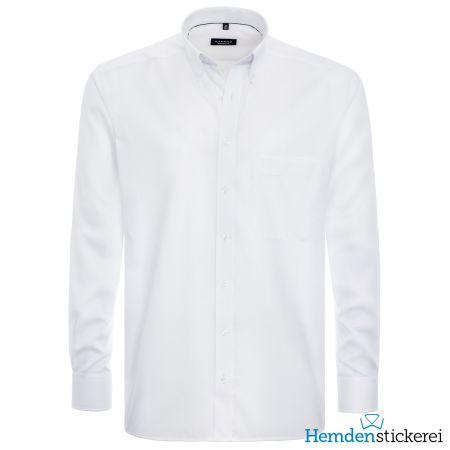 Eterna Herren Hemd COMFORT FIT Pinpoint 1/1 Arm Button-Down-Kragen mit Brusttasche Weiß