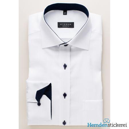 Eterna Herren Hemd COMFORT FIT Pinpoint 1/1 Arm Classic Kent-Kragen mit Patchung mit Brusttasche Weiß