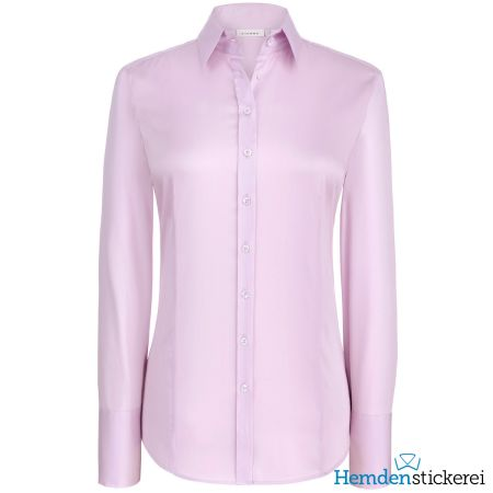 Eterna Damen Bluse COMFORT FIT Popeline Stretch 1/1 Arm mit Kragen Rosa