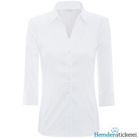 Eterna Damen Bluse COMFORT FIT Popeline Stretch 3/4 Arm mit offenen Kragen Weiß