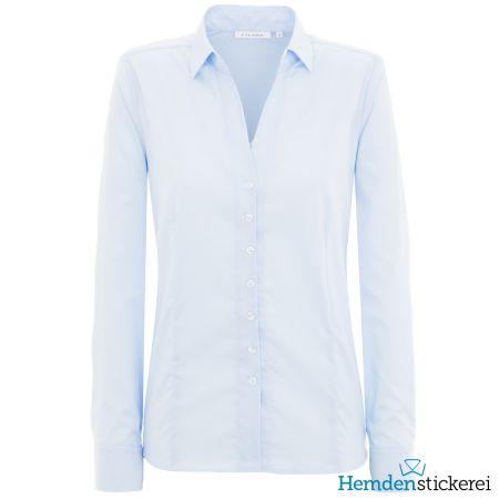 Eterna Damen Bluse COMFORT FIT Popeline Stretch 1/1 Arm mit Kragen Hellblau