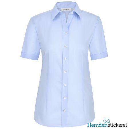 Eterna Damen Bluse COMFORT FIT Popeline 1/2 Arm mit Kragen Hellblau