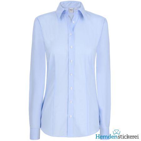 Eterna Damen Bluse COMFORT FIT Popeline 1/1 Arm mit Kragen Hellblau