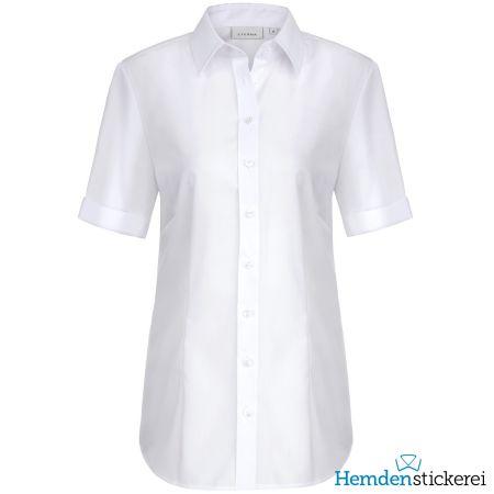 Eterna Damen Bluse COMFORT FIT Popeline 1/2 Arm mit Kragen Weiß
