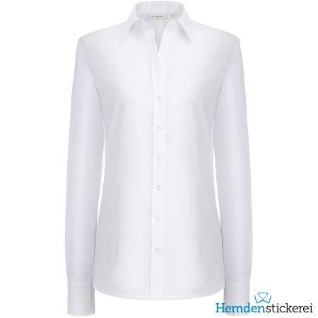 Eterna Damen Bluse COMFORT FIT Popeline 1/1 Arm mit Kragen Weiß