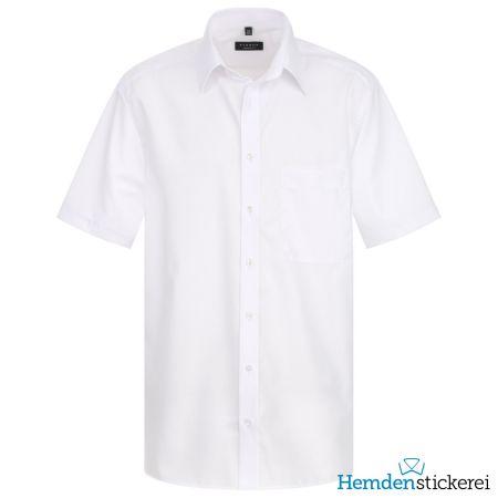 Eterna Herren Hemd COMFORT FIT Popeline 1/2 Arm Basic Kent-Kragen mit Brusttasche Weiß