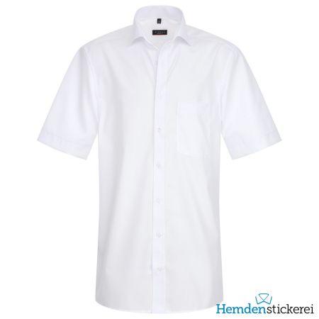 Eterna Herren Hemd MODERN FIT Popeline 1/2 Arm Classic Kent-Kragen mit Brusttasche Weiß