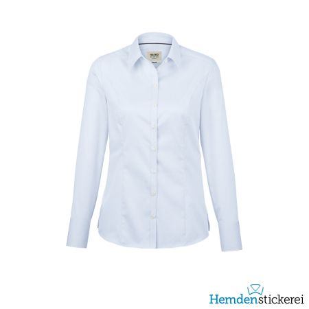 Hakro Damen Bluse 1/1 Arm Business Kent-Kragen Himmelblau
