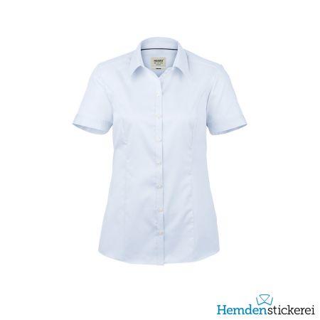 Hakro Damen Bluse 1/2 Arm Business Kent-Kragen Himmelblau