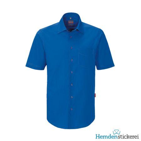 Hakro Herren Hemd 1/2 Arm Performance Kent-Kragen mit Brusttasche Royalblau