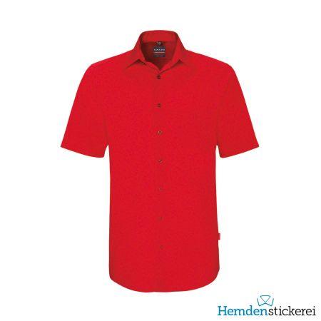 Hakro Herren Hemd 1/2 Arm Performance Kent-Kragen mit Brusttasche Rot