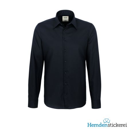 Hakro Herren Hemd 1/1 Arm Business Tailored Kent-Kragen Schwarz