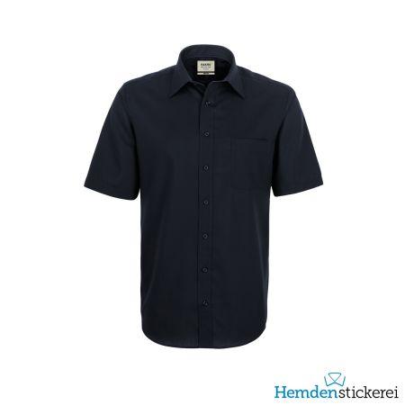 Hakro Herren Hemd 1/2 Arm Business Kent-Kragen mit Brusttasche Schwarz