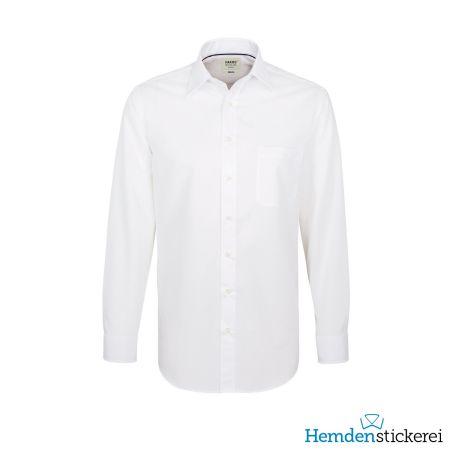 Hakro Herren Hemd 1/1 Arm Business Kent-Kragen mit Brusttasche Weiß