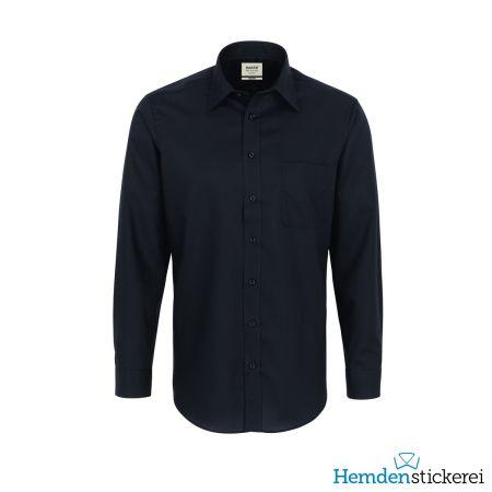 Hakro Herren Hemd 1/1 Arm Business Kent-Kragen mit Brusttasche Schwarz