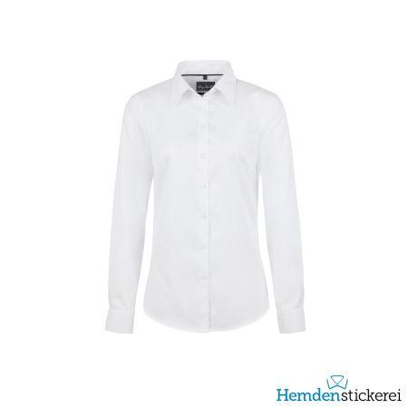 Hakro Damen Bluse 1/1 Arm Oxford Kent-Kragen Weiß
