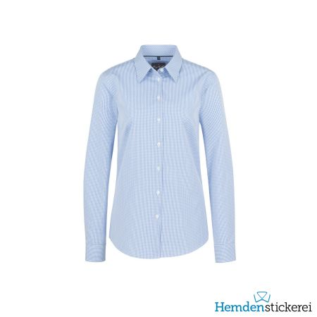 Hakro Damen Bluse 1/1 Arm Vichy Karo Kent-Kragen Pastellblau