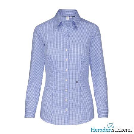 Seidensticker Damen Bluse SLIM 1/1 Arm mit Kragen bügelfrei Blau gestreift