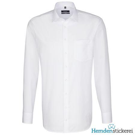 Seidensticker Herren Hemd COMFORT 1/1 Arm Kent-Kragen mit Brusttasche bügelleicht Weiß
