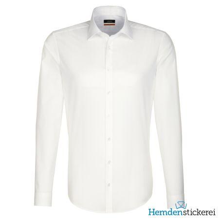 Seidensticker Herren Hemd SLIM 1/1 Arm Kent-Kragen bügelfrei Beige