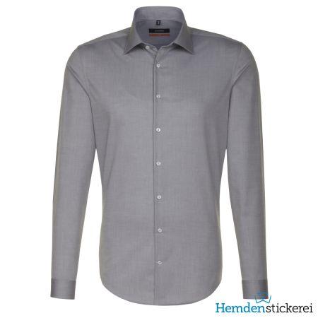 Seidensticker Herren Hemd SLIM 1/1 Arm Kent-Kragen bügelfrei grau