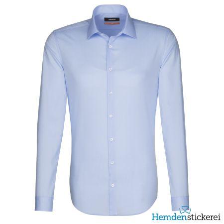 Seidensticker Herren Hemd SLIM 1/1 Arm Kent-Kragen bügelfrei Blau