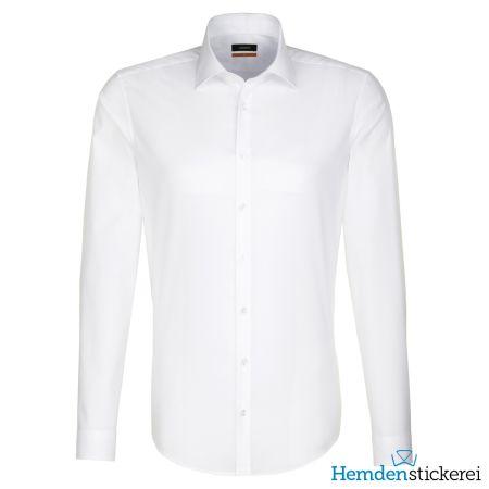 Seidensticker Herren Hemd SLIM 1/1 Arm Kent-Kragen bügelfrei Weiß