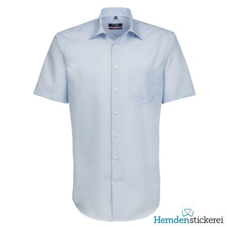 Seidensticker Herren Hemd MODERN 1/2 Arm Kent-Kragen mit Brusttasche bügelfrei Hellblau