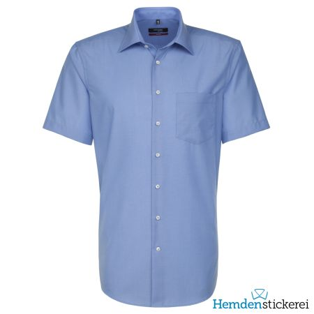 Seidensticker Herren Hemd MODERN 1/2-Arm Kent-Kragen mit Brusttasche bügelfrei Blau