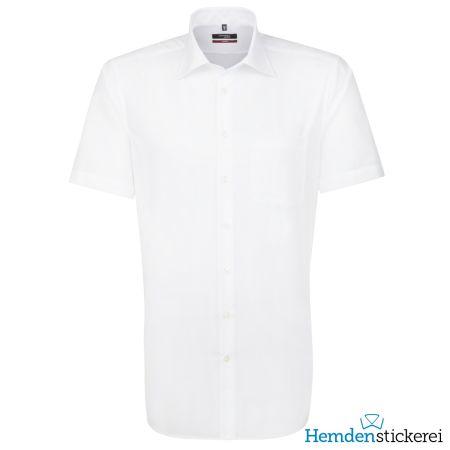 Seidensticker Herren Hemd MODERN 1/2 Arm Kent-Kragen mit Brusttasche bügelfrei Weiß