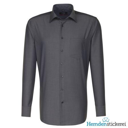 Seidensticker Herren Hemd MODERN 1/1 Arm Kent-Kragen mit Brusttasche bügelfrei Grau
