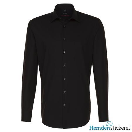 Seidensticker Herren Hemd MODERN 1/1 Arm Kent-Kragen mit Brusttasche bügelfrei Schwarz