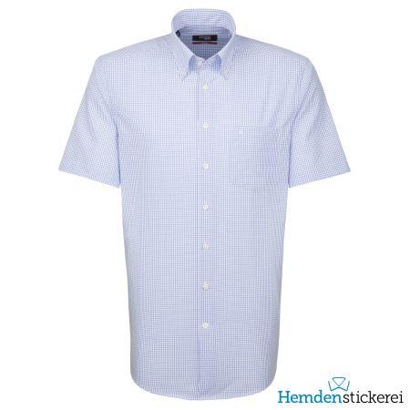 Seidensticker Herren Hemd MODERN 1/2 Arm Button-Down-Kragen mit Brusttasche bügelfrei Blau kariert