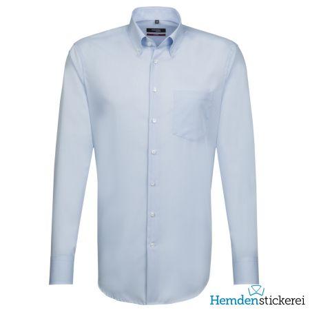 Seidensticker Herren Hemd MODERN 1/1 Arm Button-Down-Kragen mit Brusttasche Hellblau