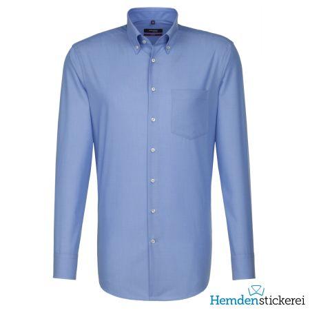 Seidensticker Herren Hemd MODERN 1/1 Arm Button-Down-Kragen mit Brusttasche Blau