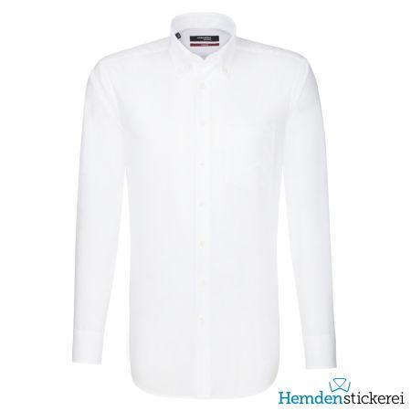 Seidensticker Herren Hemd MODERN 1/1 Arm Button-Down-Kragen mit Brusttasche bügelfrei Weiß