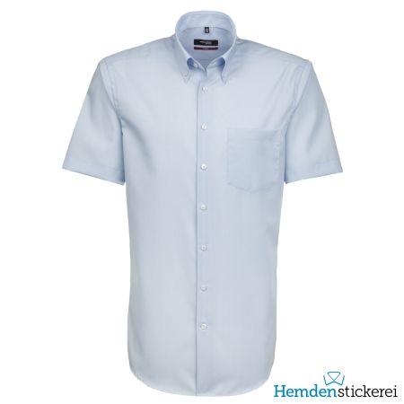 Seidensticker Herren Hemd MODERN 1/2 Arm Button-Down-Kragen mit Brusttasche bügelleicht Hellblau