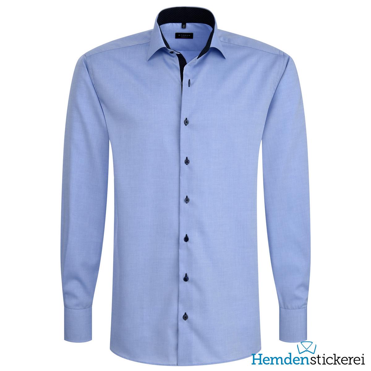 ... Eterna Herren Hemd MODERN FIT Pinpoint 1/1 Arm Classic Kent-Kragen mit  Patchung Mittelblau Seite zurück. lightbox