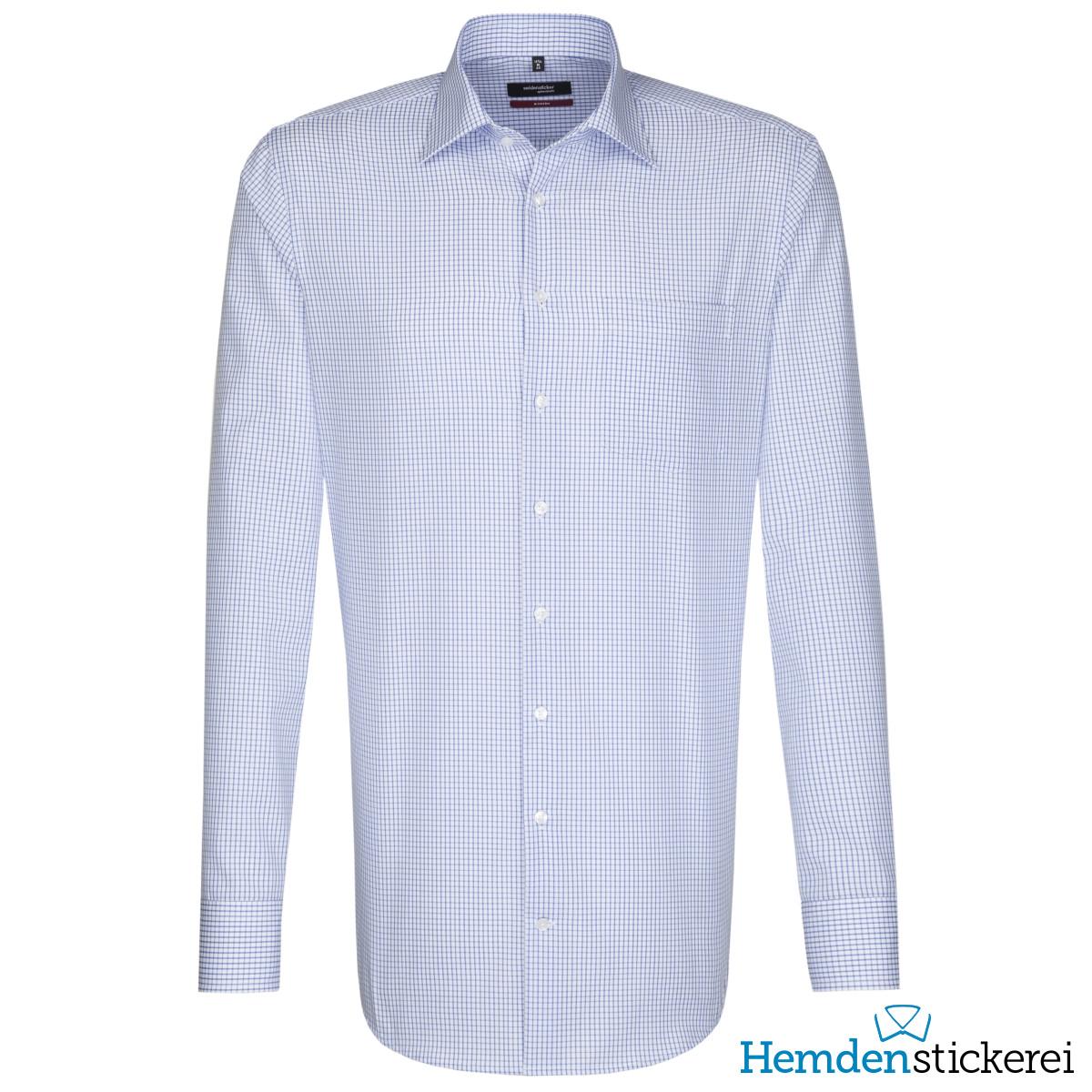 size 40 c47c5 0341f Seidensticker Herren Hemd MODERN 1/1 Arm Kent-Kragen mit Brusttasche  bügelfrei Blau kariert